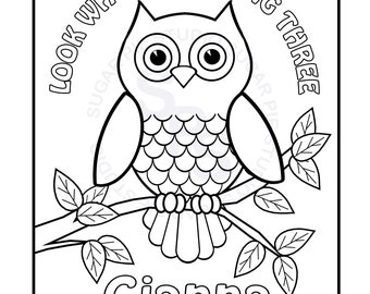 personalized printable owl birthday party favor childrens kids coloring page book activity pdf or jpeg file - Printable Owl Pictures