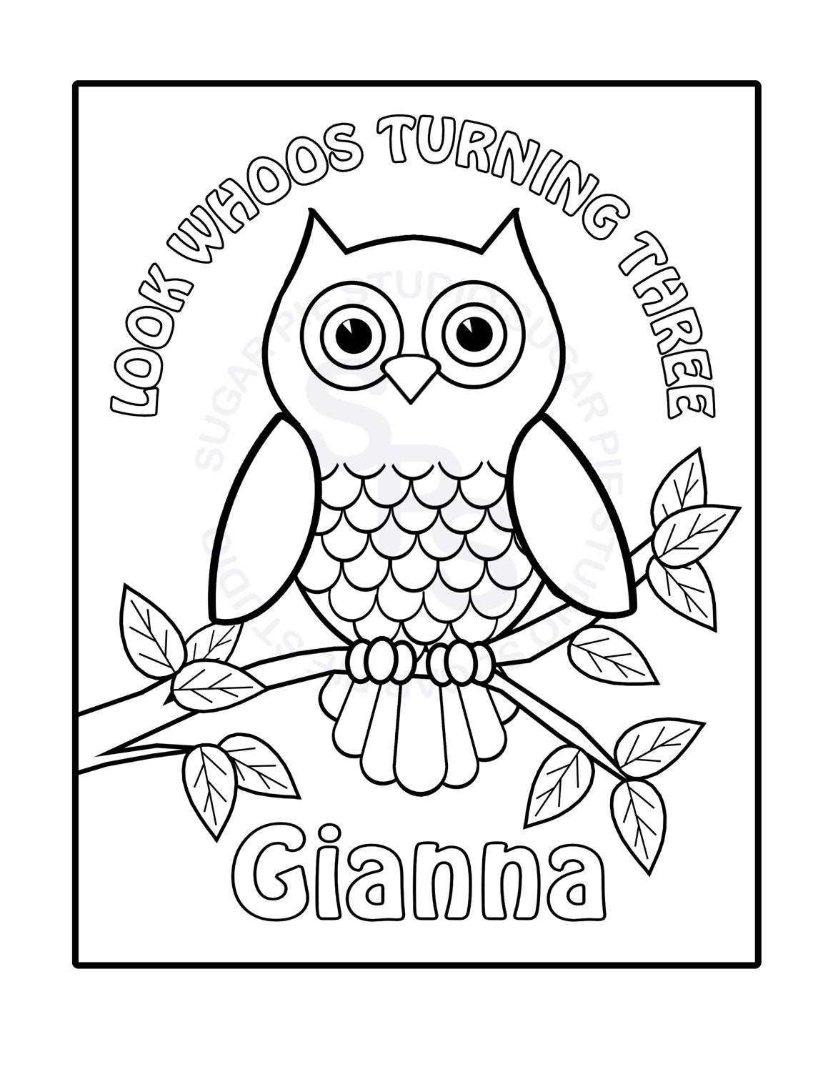 personalized printable owl birthday party favor childrens kids rh etsy com owl coloring pages for adults halloween owl coloring pages - Cute Owl Coloring Pages To Print