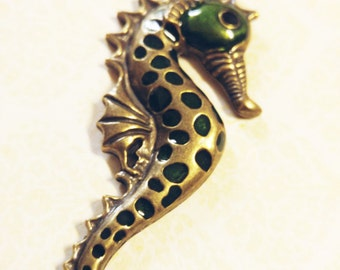 "Large Seahorse Pendant Antiqued Bronze with Enamel 2 5/8"" Focal Pendant Ocean Pendant Nautical"