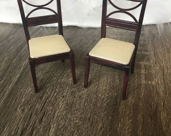 vintage renwal pair of doll house chairs