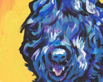Black Russian Terrier dog portrait print of pop art Dog painting bright colors 13x19 BRT blackie