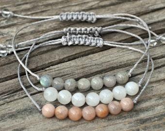 Stack Bracelets, Moonstone Yoga Braclet, Sunstone, Labradorite, Meditation Bracelet, Minimalist, Crystal Healing, Good Luck