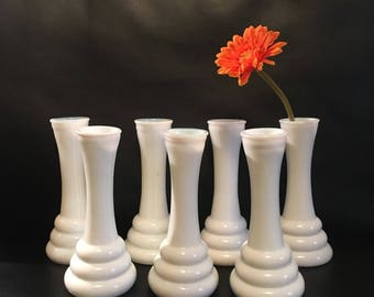7 Vintage White Milk Glass 3 Ring Bud Flower Vases Randall