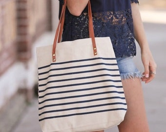 Canvas Striped Tote Bag | Perfect for Shopping, Beach, or Pet Stuff