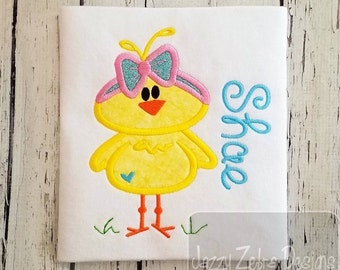 Chick Girl 160 Appliqué embroidery design - chick appliqué design - Easter appliqué design - farm appliqué design - girl appliqué design