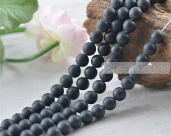 Grade A Natural Frosted Black Agate Beads 6mm-12mm Round 15 Inch Strand AG10 Wholesale Beads
