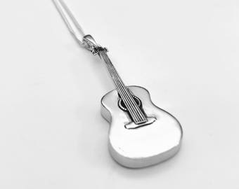 Guitar Necklace, Acoustic Guitar Necklace, Guitar Pendant, Sterling Silver Guitar Necklace, Rock-n-Roll Necklace