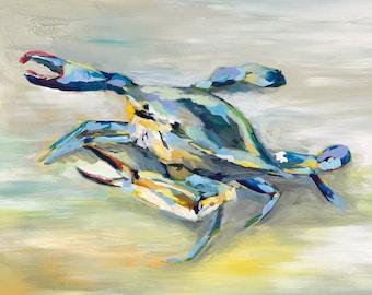 "Atlantic Crab, 8.5 x 11"" Print of an Original Acrylic Painting in 11"" x 14"" mat"