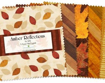 Amber Reflections 5-Inch Squares Charm Pack, 42 Pieces, Artly Collection, Wilmington Prints, Precut Fabric, Quilt Fabric, Cotton Fabric