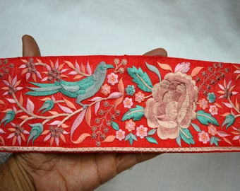 Red Indian Laces Trim By The Yard, Saree Pure Silk Trim Embroidered Decorative Sari Border Fabric Sewing trim Trimmings, Craft Ribbon