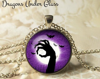 """Zombie Hand Necklace - 1-1/4"""" Circle Pendant or Key Ring - Wearable Photo Art Jewelry - Ghoul, Halloween costume, Horror, Haunted, Goth Gift"""