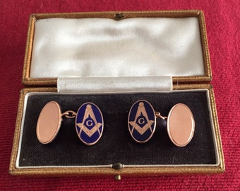 Gold Enamel Masonic Cufflinks