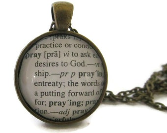 PRAY Definition Necklace, Dictionary Necklace, Pray Jewelry, Word Definition, Affirmation Jewelry , Bronze or Silver