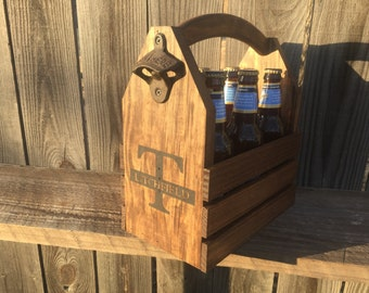 Personalized Groomsmen gift Rustic 6-pack beer bottle carrier 12 oz longnecks wood six pack homebrew tote new gift wedding father's day