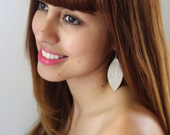 champagne gold leather earrings