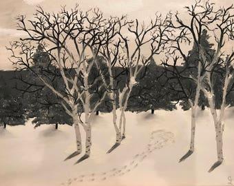 Oil painting-Winter Tracks