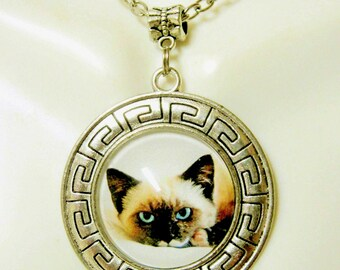 Siamese cat pendant with chain - CAP26-003