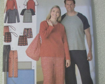Simplicity 4889 Womens and Men's(Size AA S,M,L)  pants or shorts, knit top, blanket and bag