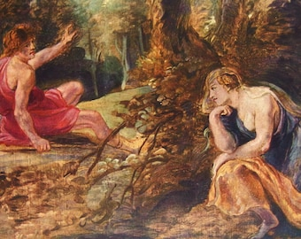 Cephalus and Procris by Peter Paul Rubens - an Original, Vintage 1954 Frameable Art Print