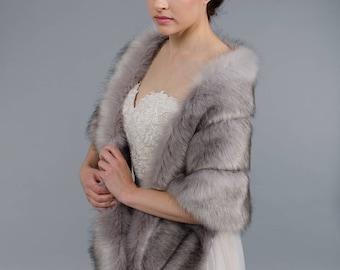 Grey faux fur wrap bridal wrap faux fur shrug faux fur stole faux fur shawl faux fur cape B001-grey