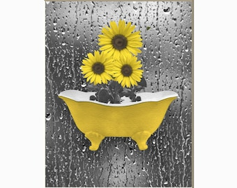 Yellow Gray Sunflowers Raindrops Decor, Yellow Bathroom Bedroom Matted Wall Art Picture