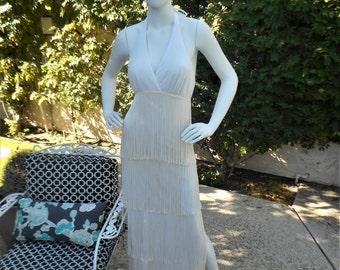 Vintage 1970's Jack Hartley White Fringe Halter Dress - Size 6