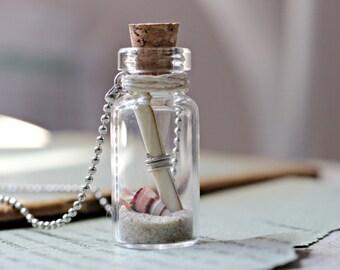 Australian Made Beach Bottle Necklace, Friendship Necklace, Secret Message In A Bottle Necklace, Australian Jewelry, Wholesale Jewelry, Sand