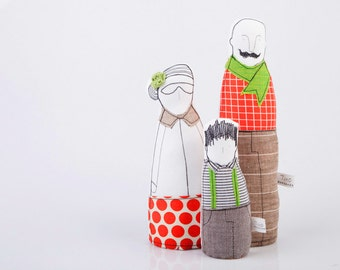 Familienporträt Puppe, Familie Geschenk-Set Puppe, Baumwolle Spielzeug, Faser-Skulptur, Therapie-Puppe, gleich, Tuchpuppe, Textile Porträt aussehen