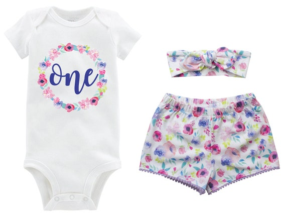 First Birthday Blue Watercolor Pastel Outfit Shorts Headband Watercolor Floral Birthday Onesie Monogram Summer Shorts Pom Pom Shorts Outfit