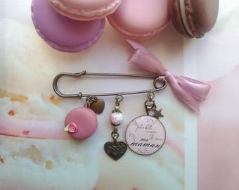 "Brooch ""my best reason to live my mom"", cabochon and charms / mothers day gift idea"