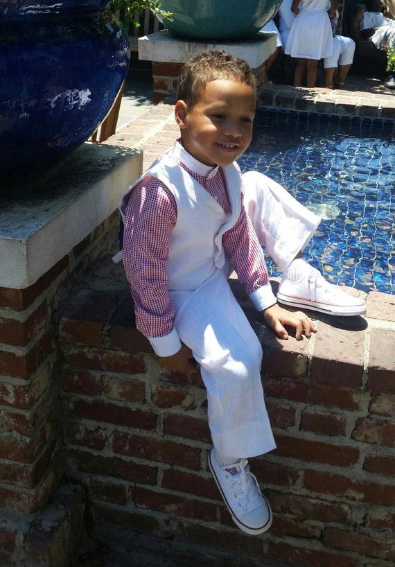 White Linen Suit Toddlers Suit Boys Suit-Pants-Vest