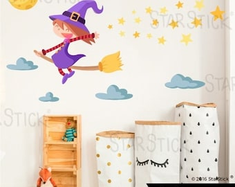 Sticker girl flying witch.  Kids' & Baby Wall Stickers