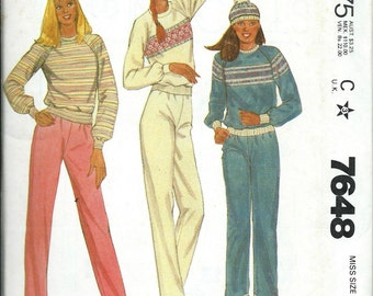 McCall's 7648 Misses Comfy and Cozy Top Pants and Hat Pattern Sizes 6-8, 10-12 & 14-16, UNCUT