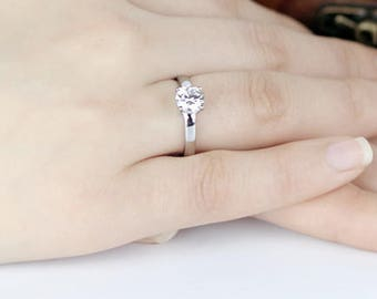 1 carat Moissanite Engagement ring in 18k white gold, Bridal Ring,Diamond Alternative engagement ring