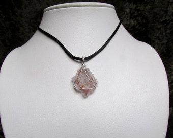 Druzy Quartz Crystal Pendant - Raw Druse Quartz Wire Wrapped in Sterling Silver - Raw Crystal Druse Necklace - Spirit Quartz Necklace
