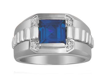 Men's Sapphire Ring In Sterling Silver with Genuine Diamonds