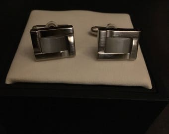 Gents Silver plated and Mother of Pearl Cufflinks