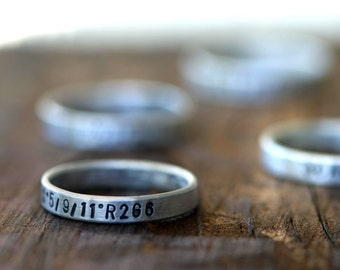 Custom stamped sterling silver band ring (E0190)