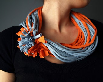 T-Shirt SCARF NECKLACE in sky blue and orange, handmade