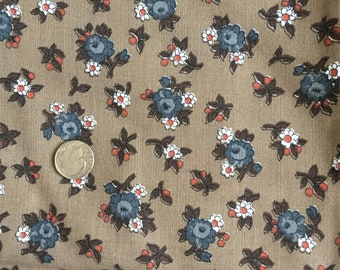Vintage 1960s 1970s Mod Flower Power Calico Fabric Cranston Brown Gray 2Y+