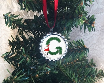 "Christmas Ornament, Letter ""G"" Ornament, Monogram Ornaments, Initial Ornaments, Any Letter Available, Santa Ornament, 2017 Ornament"