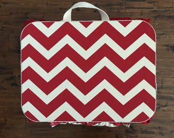 Small Red Chevron Lap Desk with Front Pocket