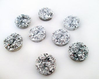 50 12mm resin drusy cabochons, silver iridescent round druzy cabs, H474