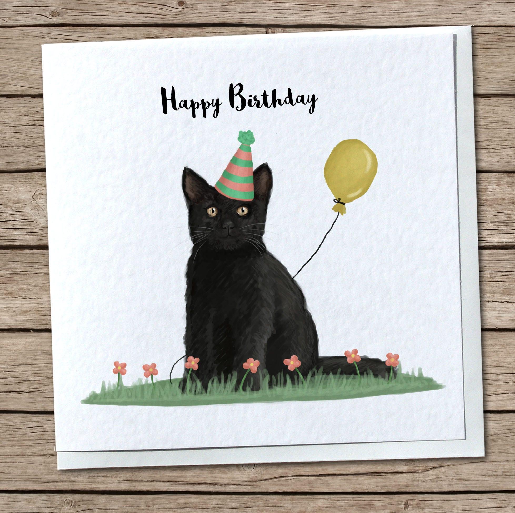 Cute black cat birthday greetings card zoom kristyandbryce Gallery