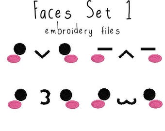 Plushie eyes face EMBROIDERY MACHINE FILES pattern design hus jef pes dst all formats Instant Download digital anime doll plush applique