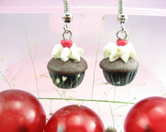 Mini Black Forest Cupcake Earrings - food jewelry, cupcake earrings, food earrings, cupcake jewelry, chocolate, polymer clay, miniature food