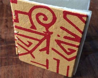Hand Bound Mini Sketchbook - Mini Journal - Geometric Print Cover