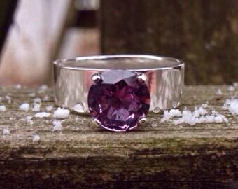 Alexandrite Medium Band Sterling Silver Ring, 8mm Color Change Alexandrite Gemstone, Proposal Ring, Wedding Ring, Engagement Ring