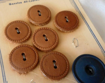 Set of 6 VINTAGE Leather Sew Thru BUTTONS