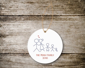 Christmas Ornament, Family Christmas Ornament, Personalized Family Ornament, Stick Figures, New Baby, New Family, Christmas Gift